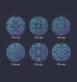 collection of circular arabic motifs drawn with vector image vector image