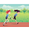 Cute Girls Running on the Park Road vector image vector image