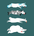 dead animals set 1 unicorn and zebra llama and vector image vector image