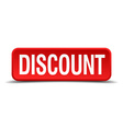 Discount red 3d square button isolated on white vector image