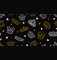 doodle crown pattern gold white royal elements vector image