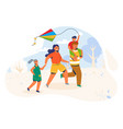 family in the park launches the kite characters vector image vector image