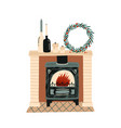 fireplace with christmas decorations flat vector image