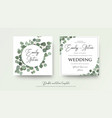 floral wedding invite card design with eucalyptus vector image
