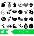 fruit theme black simple icons set eps10 vector image vector image