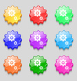 gears icon sign symbol on nine wavy colourful vector image vector image