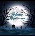 halloween background with cemetery tree and moon vector image vector image