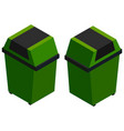 isometric green trash cans on white vector image vector image