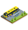 isometric yellow city bus at a bus stop people vector image vector image
