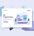 landing page template of 3d programming concept vector image