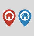 location icon flat with house vector image vector image