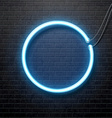 neon blue circle isolated on black brick wall vector image vector image