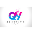 qy q y letter logo with shattered broken blue vector image vector image