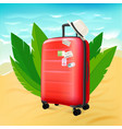 red suitcase on sunny beach vector image vector image