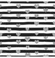 seamless pattern silver hearts vector image vector image