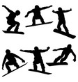 set athletes snowboarders vector image vector image