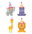 set cute animals with party hat celebration vector image