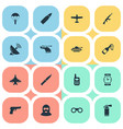 set of 16 simple war icons can be found such vector image vector image