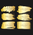 set of golden brush stroke frame vector image vector image