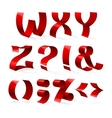 Set of isolated red color shiny ribbon font W-Z vector image
