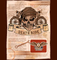 skull on vintage motorcycle background vector image vector image