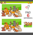 spot the differences with dogs or puppies vector image vector image