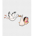 stork bringing baby girl on transparent background vector image vector image