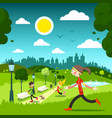sunny day in city park with people vector image vector image