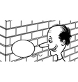 talking to a brick wall cartoon vector image vector image