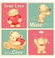 Teddy Bear in Retro Love Background vector image vector image