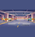 underground car parking garage with vacant places vector image