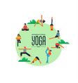 yoga day card people doing exercise outdoor vector image vector image