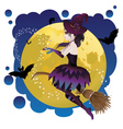Witch and Full Moon4 vector image