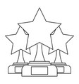 set of trophy stars winner leadership competition vector image