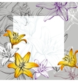 abstract greeting card floral blooming lilies vector image vector image