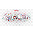 anniversary text over colorful confetti vector image vector image