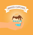 baked yellow cupcake gift vector image vector image