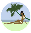 beautiful beach girl vector image vector image