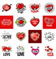 big set logos heart vector image vector image