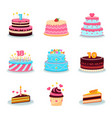 birthday cakes set party cake anniversary vector image