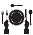 Black silhouette of a hand with a knife and fork vector image vector image