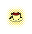 Cup of tea icon comics style vector image vector image