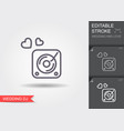 disk jockey turntable line icon with shadow vector image