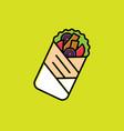 doner logo kebab wrapping sandwich street food vector image