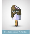 Doodle ice-cream with eyes isolated on white vector image vector image
