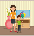 family parents in house place scene vector image