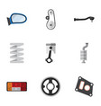 flat icon parts set of conrod crankshaft auto vector image vector image