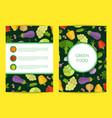flat vegetables card brochure flyer vector image vector image