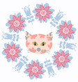 floral animal cat card vector image
