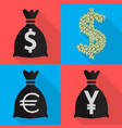 four icons monetary currency in flat on different vector image vector image